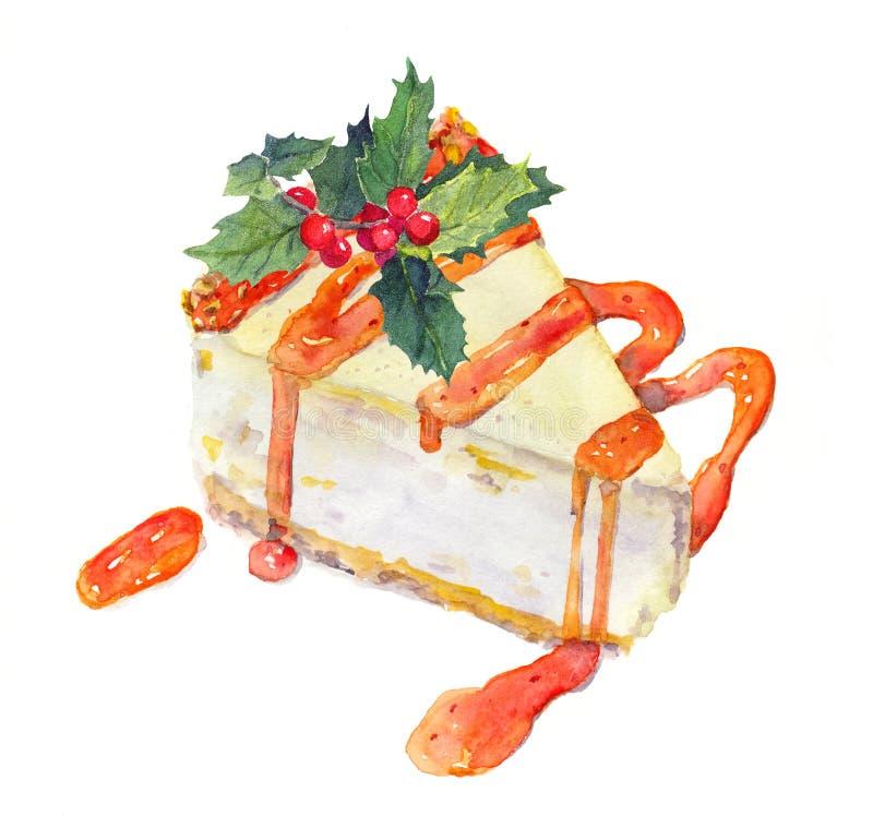 Bolo do Natal - bolo de queijo com visco watercolor foto de stock royalty free