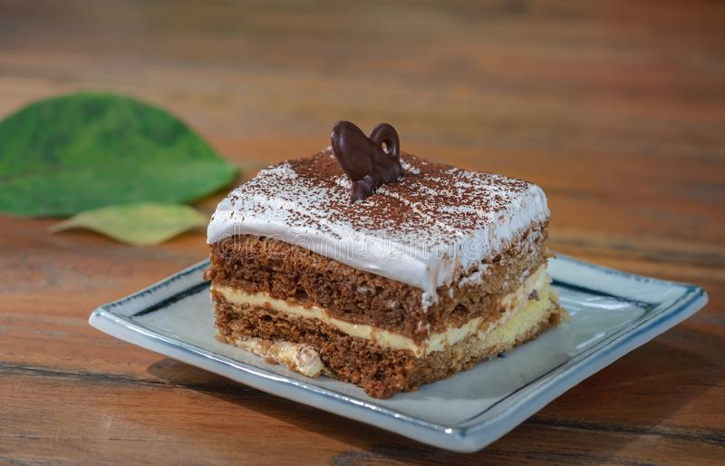 Bolo do Tiramisu, sobremesa italiana tradicional imagem de stock