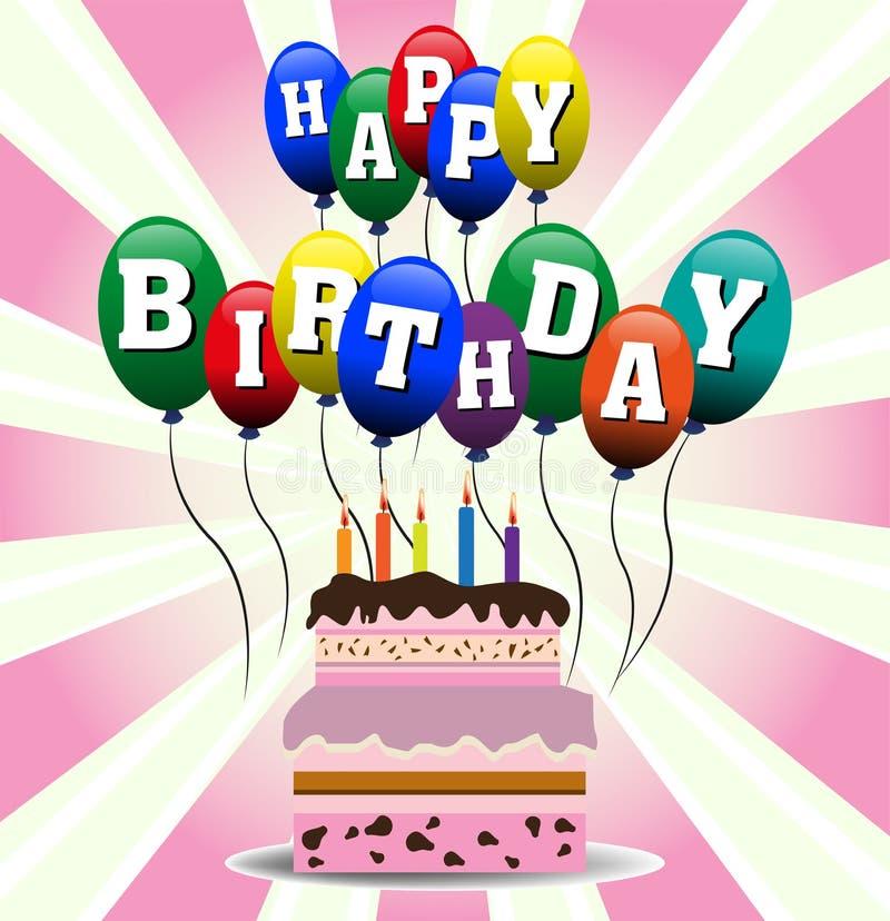 Bolo e balões de aniversário ilustração do vetor