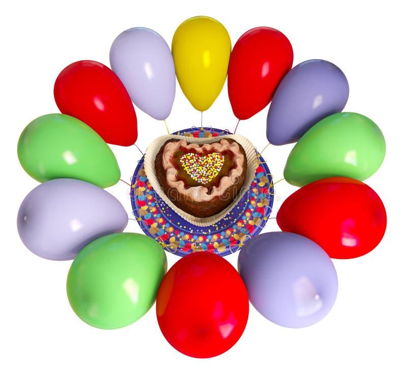 Bolo e balões decorativos do aniversário ilustração do vetor