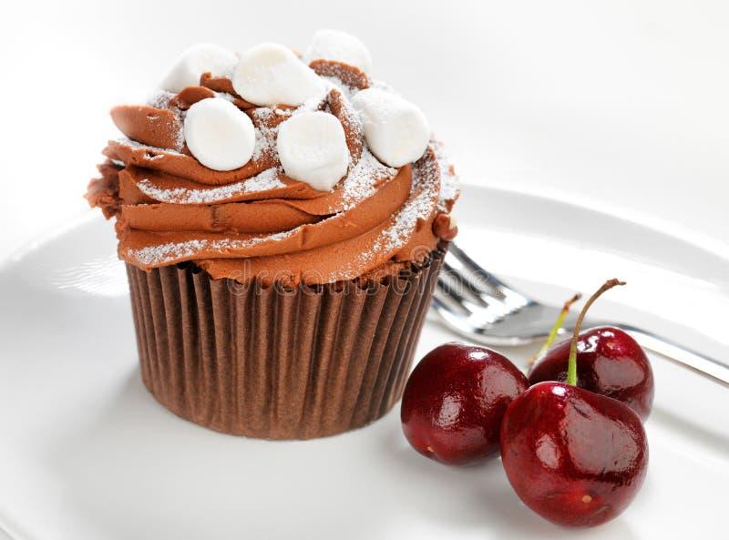 Bolo e cerejas de chocolate fotos de stock