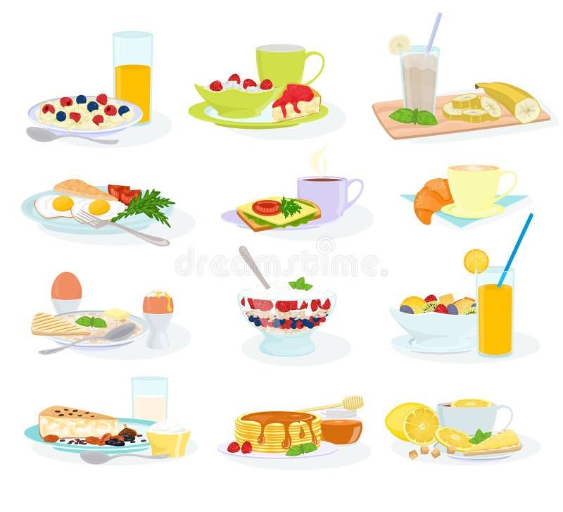 Bolo e panqueca saudáveis do cereal do ovo da refeição do alimento da manhã do vetor do café da manhã com grupo da ilustração do  ilustração stock