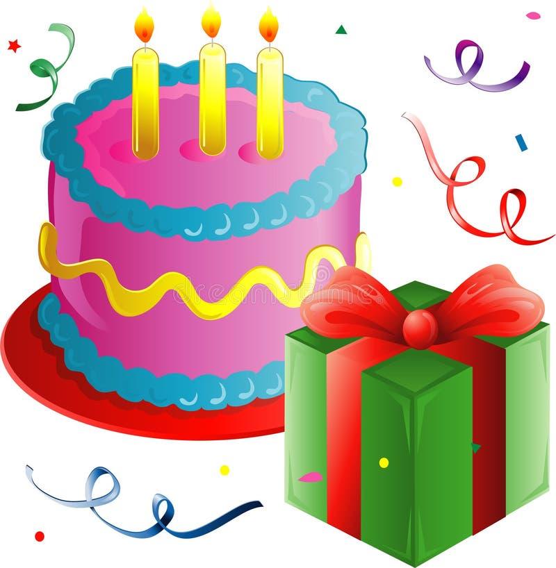 Bolo e presente de aniversário ilustração royalty free