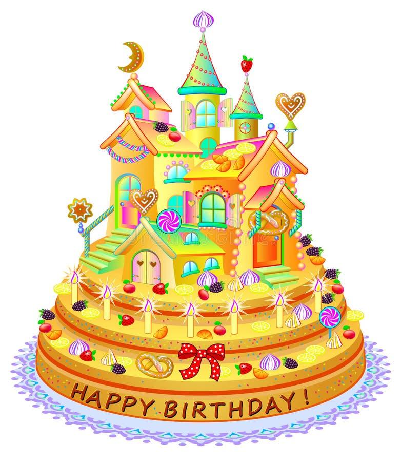 Bolo engraçado da fantasia com casa do brinquedo Cumprimentos do feliz aniversario Refeição festiva com doces, bagas e biscoitos  ilustração royalty free