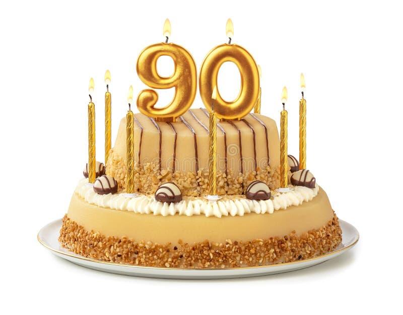 Bolo festivo com velas douradas - Número 90 fotos de stock royalty free