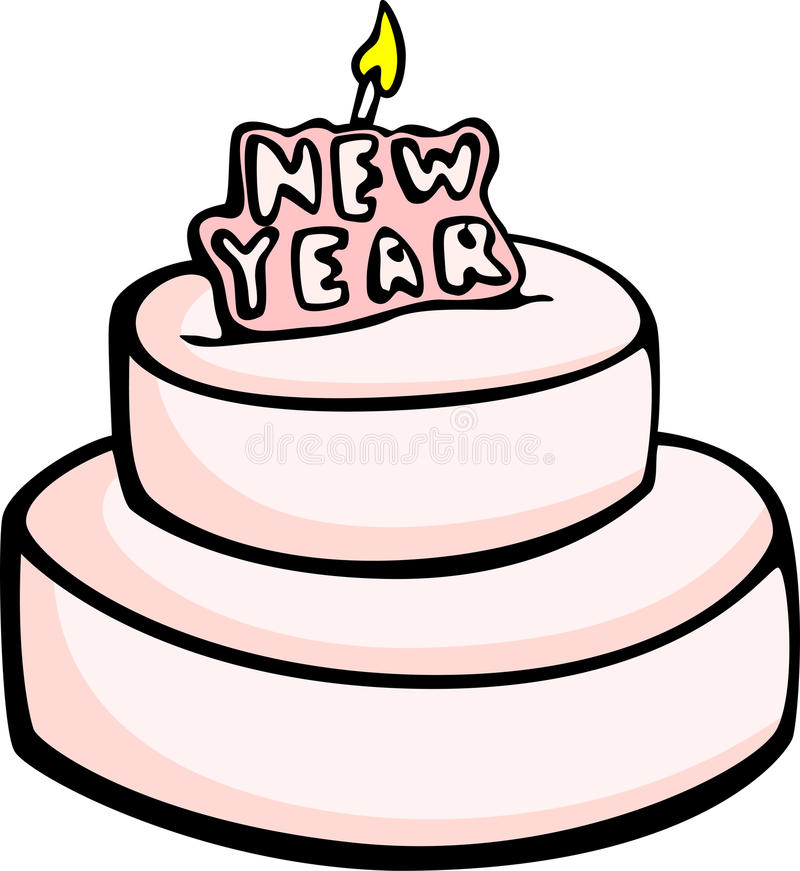 Bolo grande da celebração do ano novo ilustração do vetor