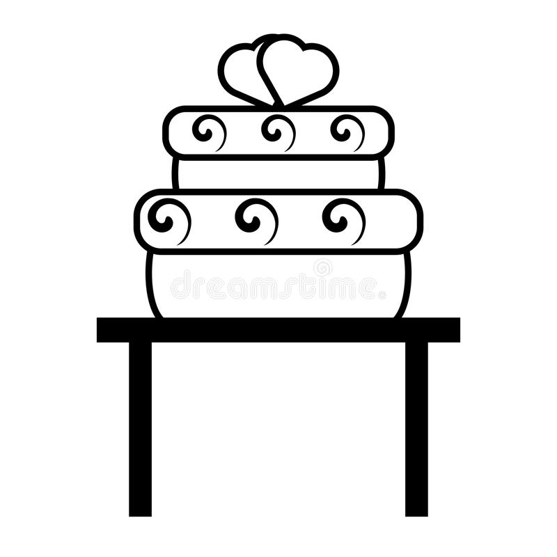Bolo grande do pictograma com casamento dos corações sobre o projeto da tabela ilustração do vetor