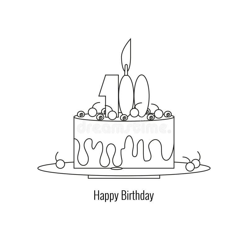 Bolo grande na placa - feliz aniversario Elementos de cumprimentos do feriado no estilo linear ilustração do vetor