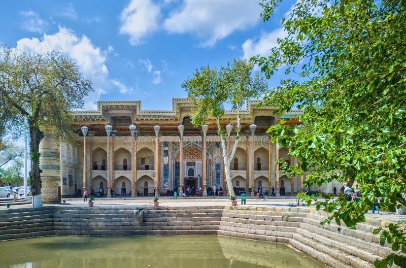 Bolo Hauz Mosque, Boukhara, l'Ouzbékistan, l'Asie centrale image libre de droits