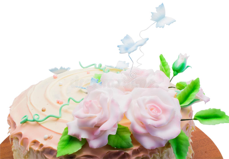 Bolo isolado com close up das rosas imagem de stock