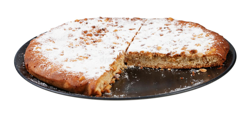 bolo italiano cortado do pinhão na placa isolada foto de stock