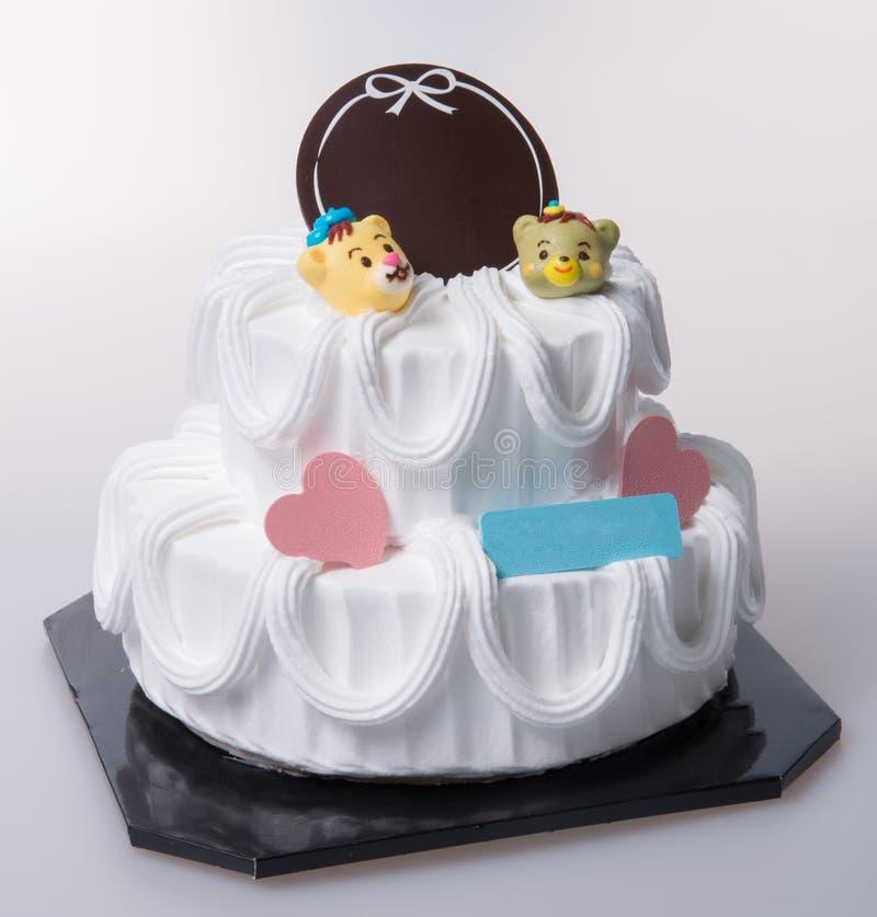 bolo ou bolo de aniversário em um fundo imagem de stock