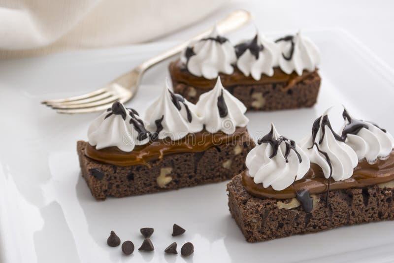 Bolo saboroso da brownie do chocolate Obscuridade, cacau imagens de stock royalty free