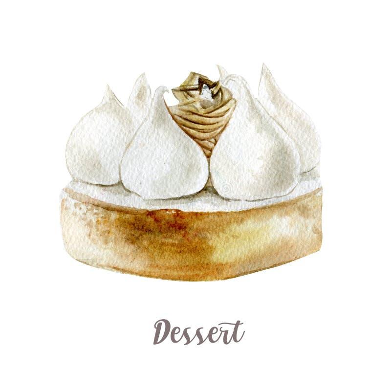 Bolo tirado mão da aquarela Ilustração isolada da sobremesa no fundo branco ilustração do vetor
