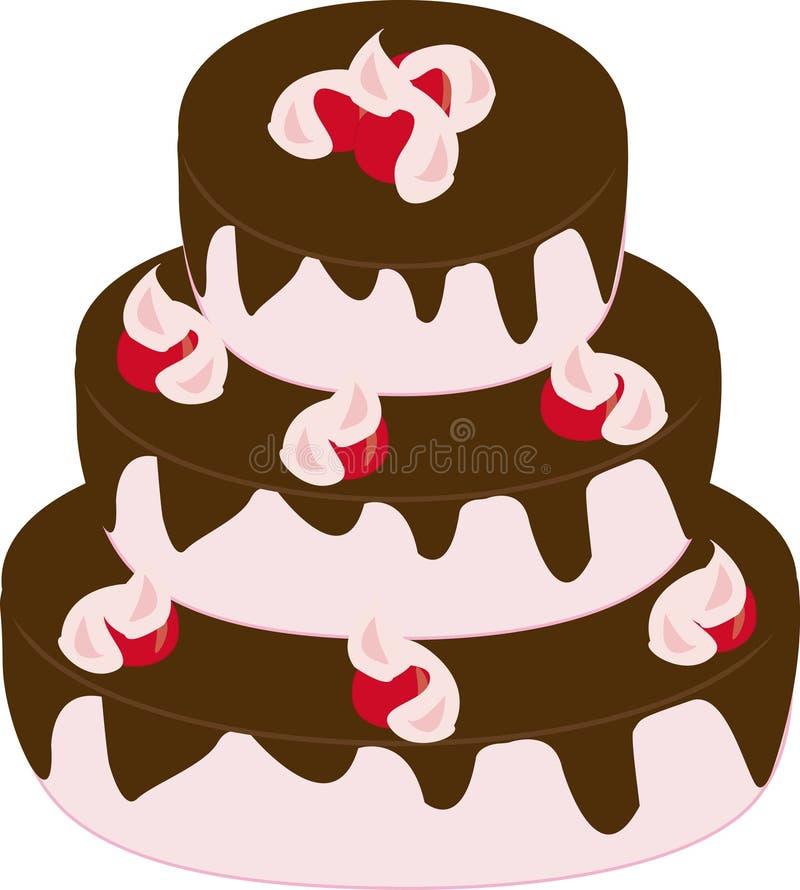 bolo Três-estratificado com crosta de gelo do chocolate ilustração royalty free