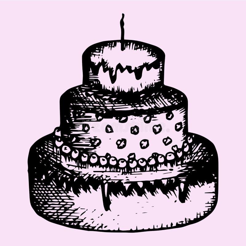 bolo Três-estratificado com vela ilustração royalty free