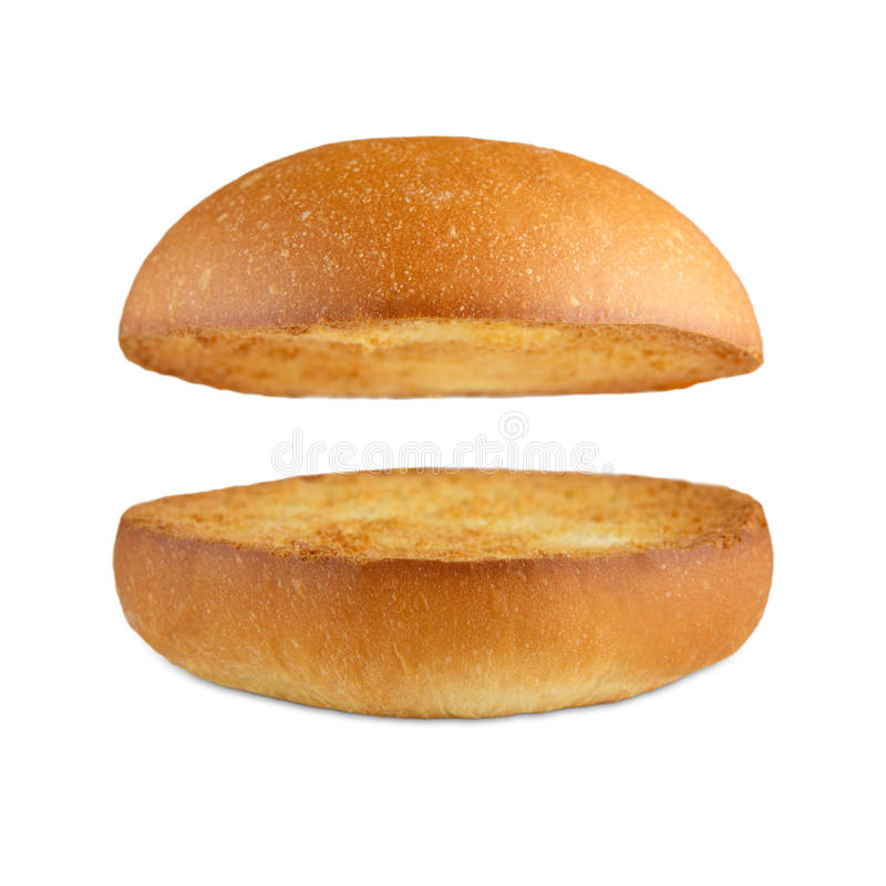 Bolo vazio do hamburguer do Hamburger isolado no branco imagem de stock royalty free
