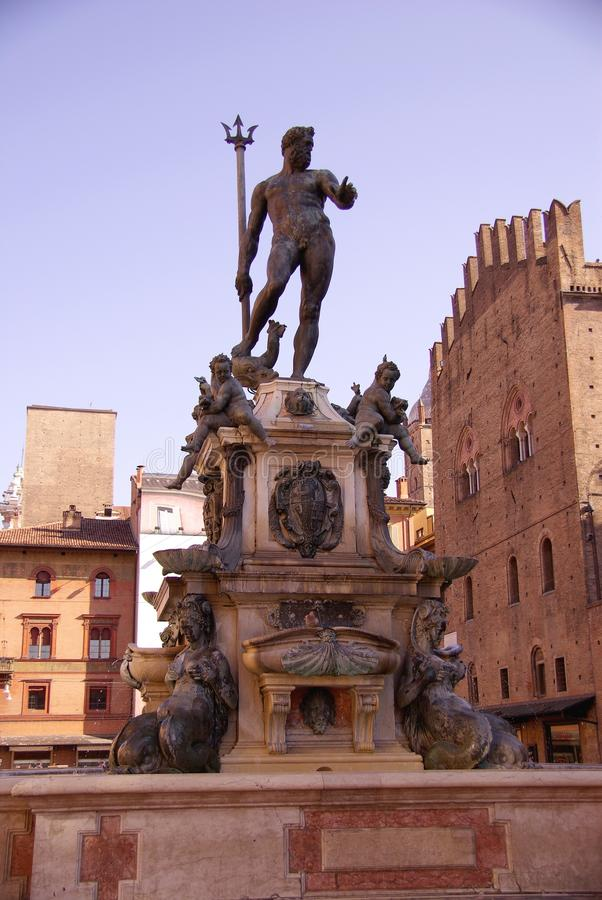 Bologna. The Neptune fountain in Bologna in Italy royalty free stock photo
