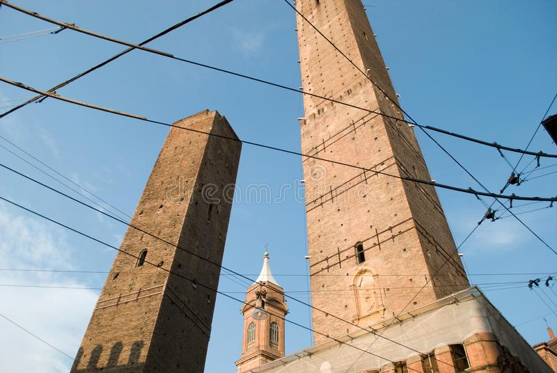 Bologna in den Mittelalter wurde die Stadt der hundert Türme genannt lizenzfreies stockfoto