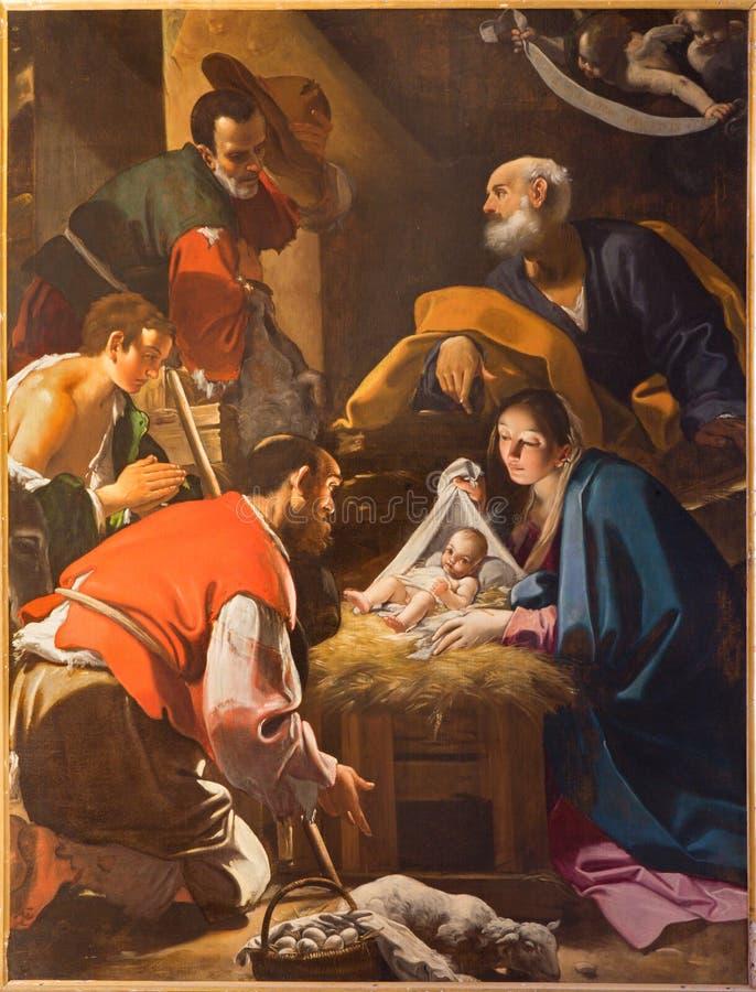 Bologna - die Verehrung der Schäferfarbe von der Kapelle der Geburt Christi durch Giacomo Cavedoni in Saint Paul oder Chiesa di S stockbilder