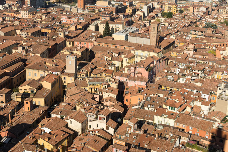 Bologna domy od above, Włochy zdjęcie royalty free