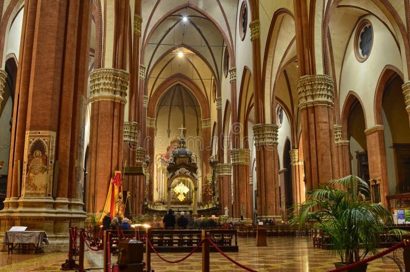 Bologna Emilia Romagna, Italien December 2018 Inre av basilikan av San Petronio arkivfoton