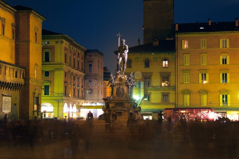bologna fontanny Italy Neptune noc widok obraz royalty free