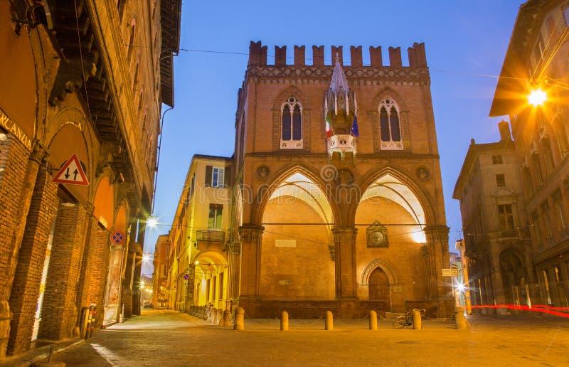 Bologna - gotischer Palast - Palazzo-della Mercanzia lizenzfreies stockbild