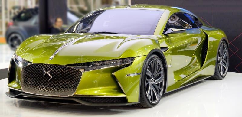 Bologna, iItaly, December 3 2016: A green DS E-Tense french sport car model stock image