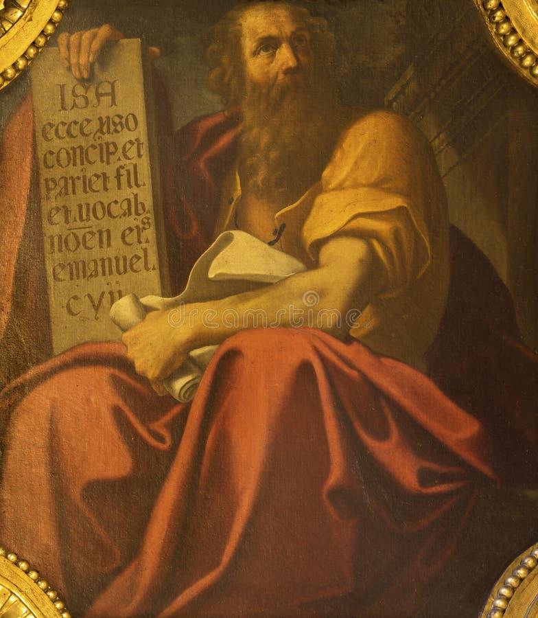 BOLOGNA, ITALIA - 18 APRILE 2018: La pittura del profeta Isaia in chiesa Chiesa di San Benedetto da Giacomo Gavedoni fotografia stock libera da diritti