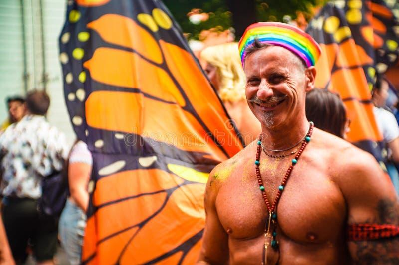 Bologna, Italien - 7. Juli 2018: Gaypride in Bologna ` s Straßen stockbilder