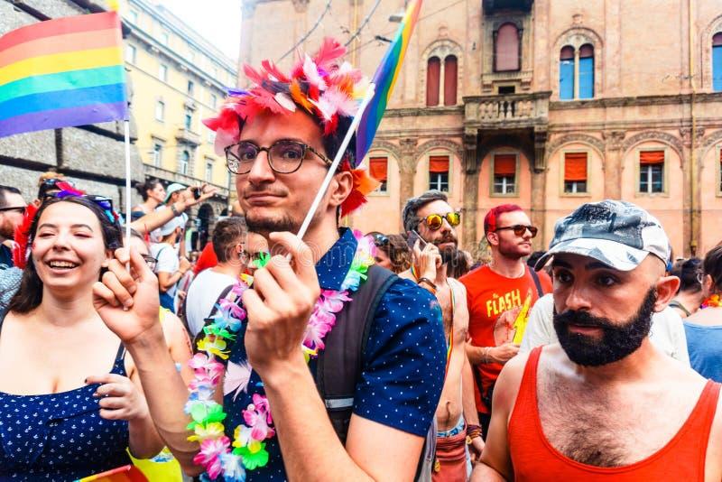 Bologna, Italien - 7. Juli 2018: Gaypride in Bologna ` s Straßen stockfoto