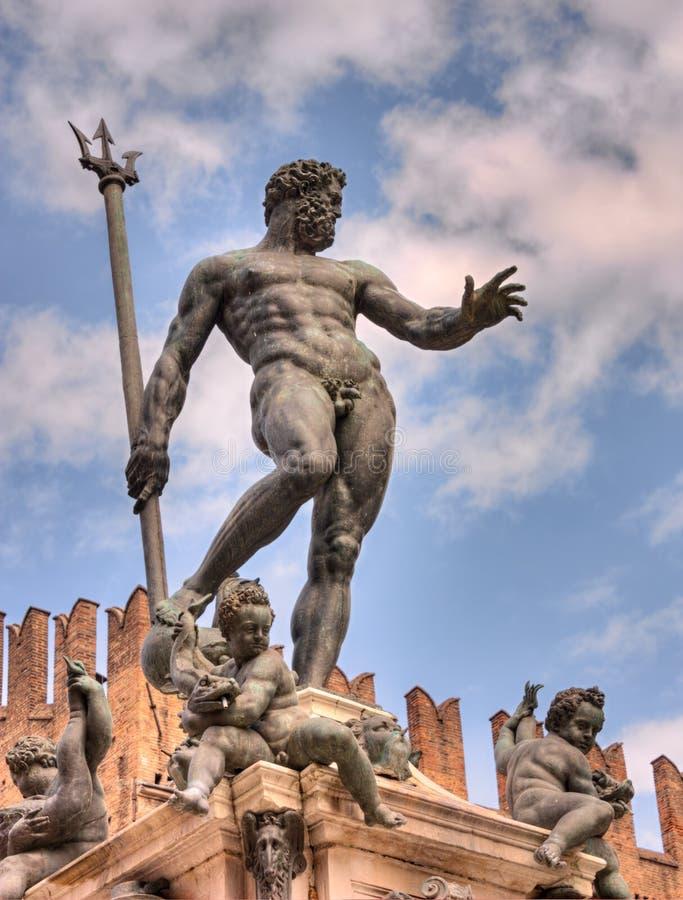 Bologna Italien - staty av Neptune arkivbild