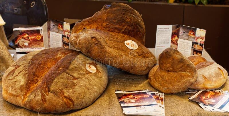 Bologna / Italy - August 30, 2019: Fico Eataly World. Altamura Italian Fresh Bread. Bologna / Italy - August 30, 2019: Fico Eataly World. Altamura Italian Bread stock photography