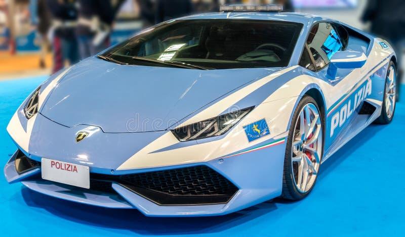 Bologna, italy, December 3 2016: police sport car Lamborghini it stock photography