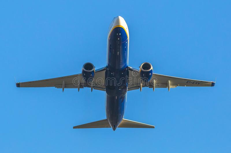 Ryanair airplane takeing off royalty free stock image