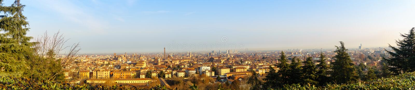Bologna, Italy 07 January 2019: Bologna Panorama in the morning. Bologna, Italy 07 January 2019: Early morning Bologna`s panorama, The most iconic landmarks are stock image