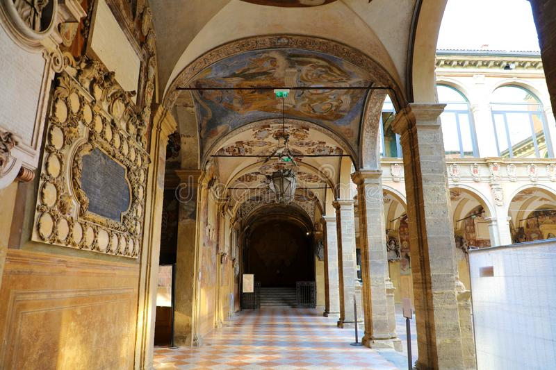 BOLOGNA, ITALY - JULY 22, 2019: Archiginnasio of Bologna is one of the most important buildings in the city of Bologna, once the royalty free stock images