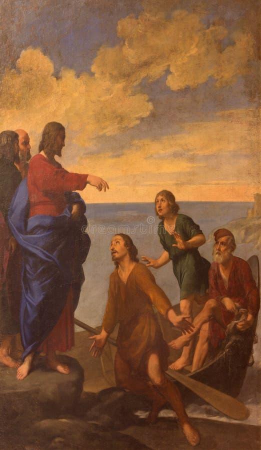 Bologna - malende Jesus-Anruf Apostel St Andrew und Johannes in der Kirche San Giovanni in Monte durch Francesco Gessi 1588 - 164 stockbilder