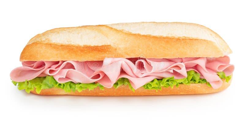 Bologna- och grönsallatsmörgås royaltyfri fotografi