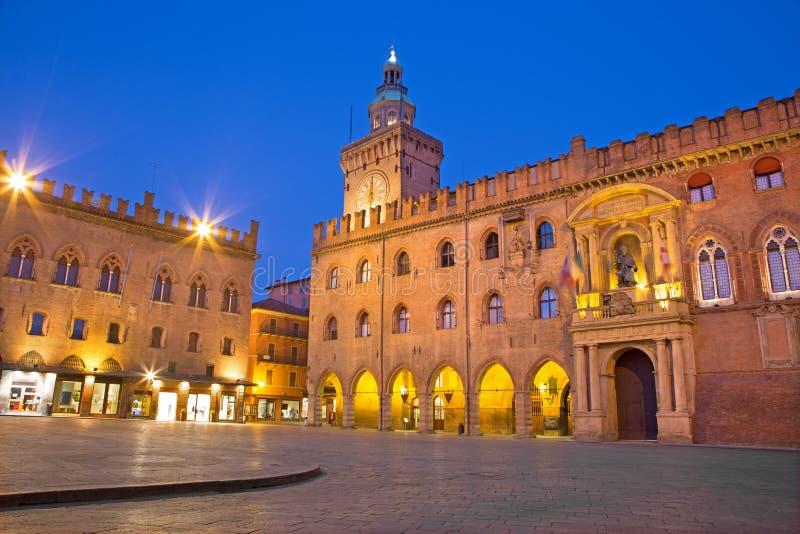 Bologna - Palazzo Comunale and Piazza Maggiore. Square in morning dusk stock photo