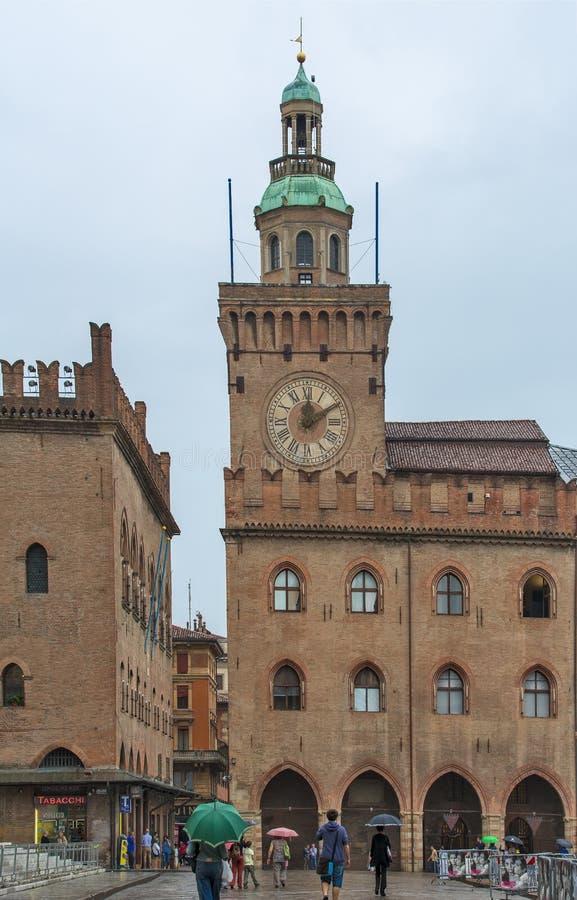 Bologna piazza Maggiore royaltyfria foton