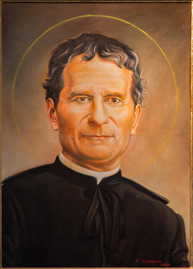 Bologna - Porträt der schönen Kunst des Heiligen Don Bosco durch P Porporato (2008) in Dom - St Peters Barockkirche stockbilder