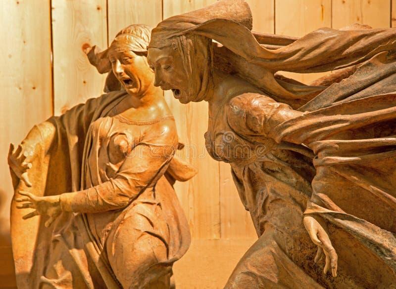 Bologna - Statue from sculptural group of Sorrow over Dead Christ by Niccolò dell'Arca in baroque church Santa Maria della Vita. royalty free stock photography