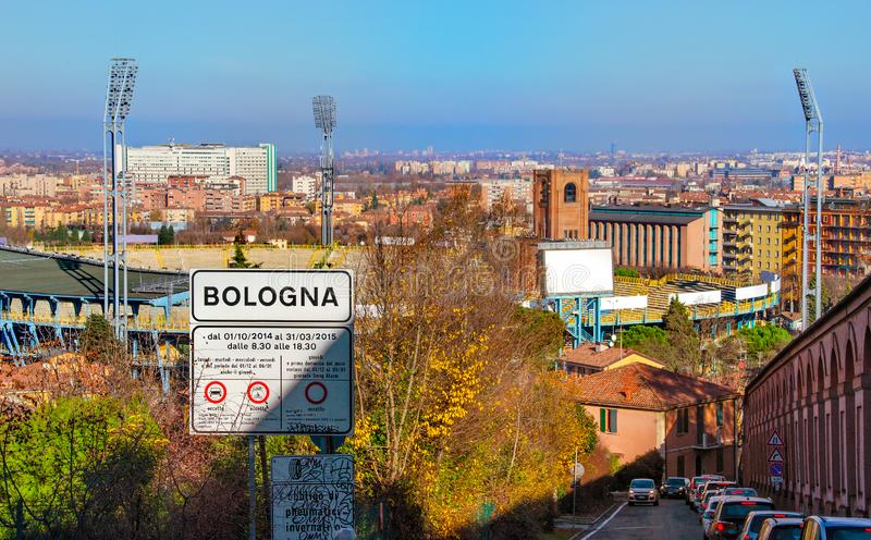 Bologna street sign aerial panorama view city up hill San Luca sanctuary archway Colli Bolognesi royalty free stock images