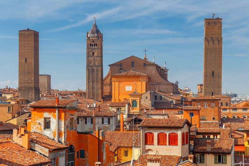 bologna Vogelperspektive der Stadt stockbild