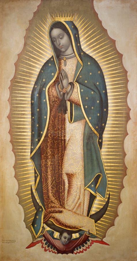 BOLOGNA WŁOCHY, KWIECIEŃ, - 18, 2018: Farba maryja dziewica Guadalupe w chruch Chiesa Di San Benedetto Francisco Antonio Vallejo zdjęcia stock