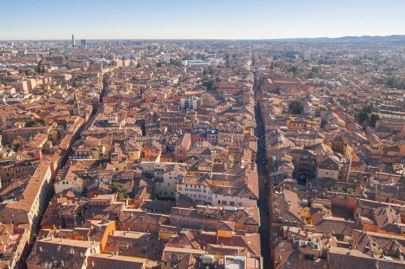Bologna Włochy widok z lotu ptaka widzieć od Asinelli wierza miasto zdjęcie stock