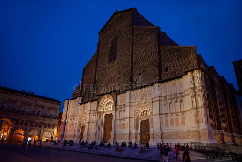 bologna W?ochy Los Angeles bazylika Di San Petronio na piazza Maggiore fotografia stock