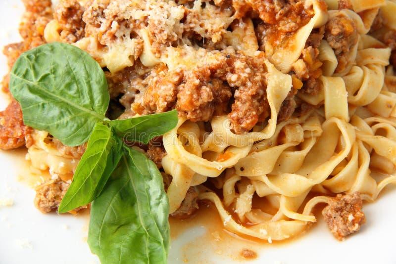 Bolognese close-up van Fettuccine stock foto's